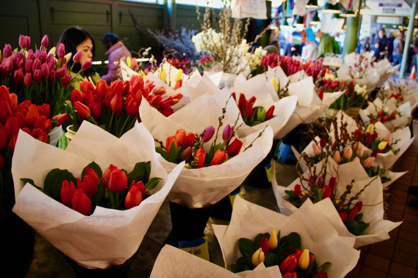 Fresh Tulips in Pike Place Public Market in Seattle, Washington ... 24 hours in Seattle ... The Spectacular Adventurer