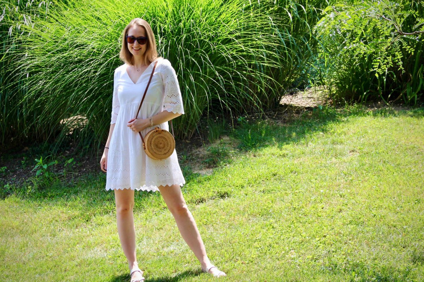 How to Style a Straw Circle Purse with a white eyelet dress ... The Spectacular Adventurer