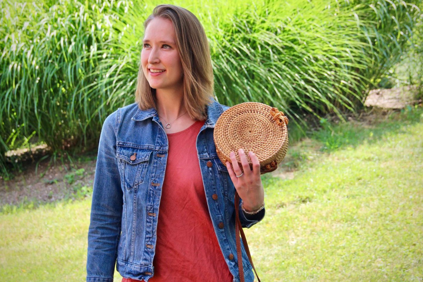 Straw Purse with Denim Jacket & Linen Dress for Easy Summer Style ... The Spectacular Adventurer