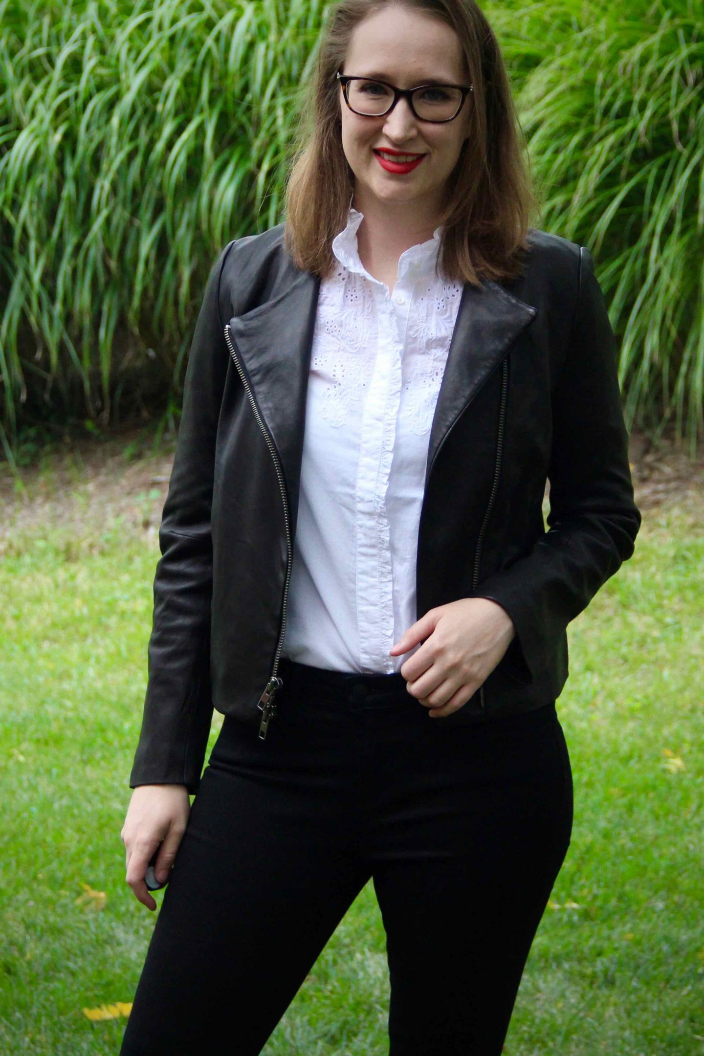 Fall Leather Fashion | Feminine Blouse with Leather Jacket | The Spectacular Adventurer