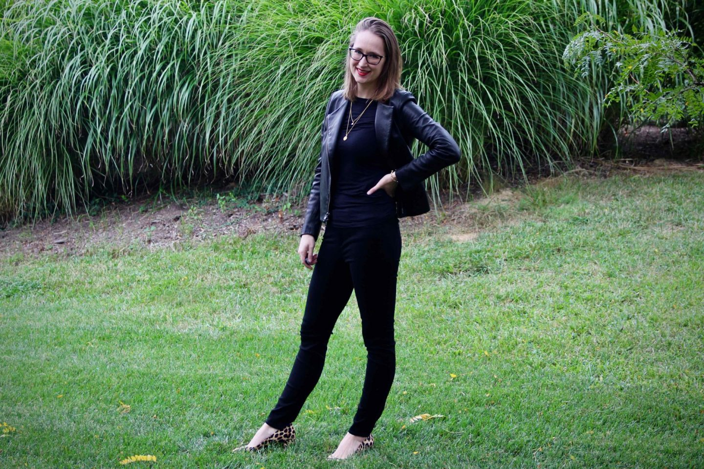 All Black Leather Fall Style with Leopard Shoes | The Spectacular Adventurer