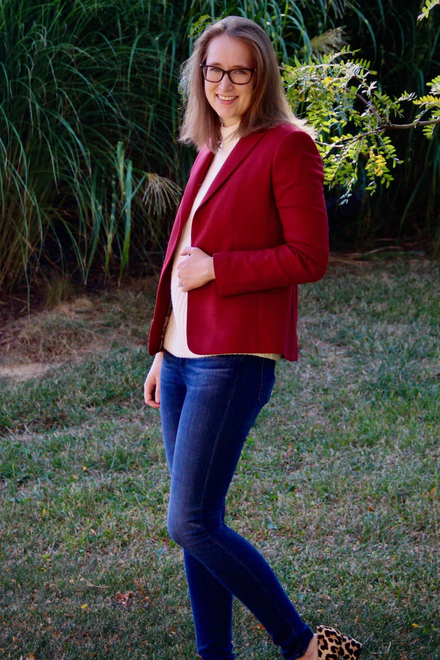 Fall Capsule Wardrobe | Red Blazer with White Sweater | The Spectacular Adventurer