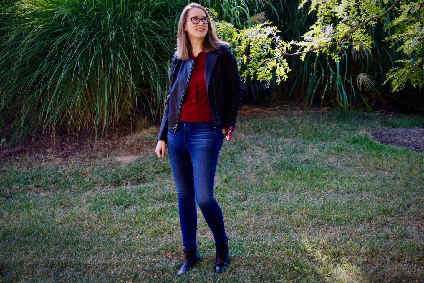 1901 Red Bow Sweater with Vince Leather Jacket   Fall Capsule Wardrobe   The Spectacular Adventurer