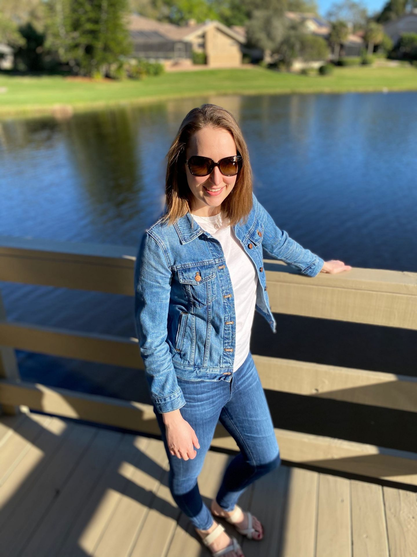 Everyday Casual Outfit White Tee with Jean Jacket | 3 Spring Jean Jacket Outfits | The Spectacular Adventurer