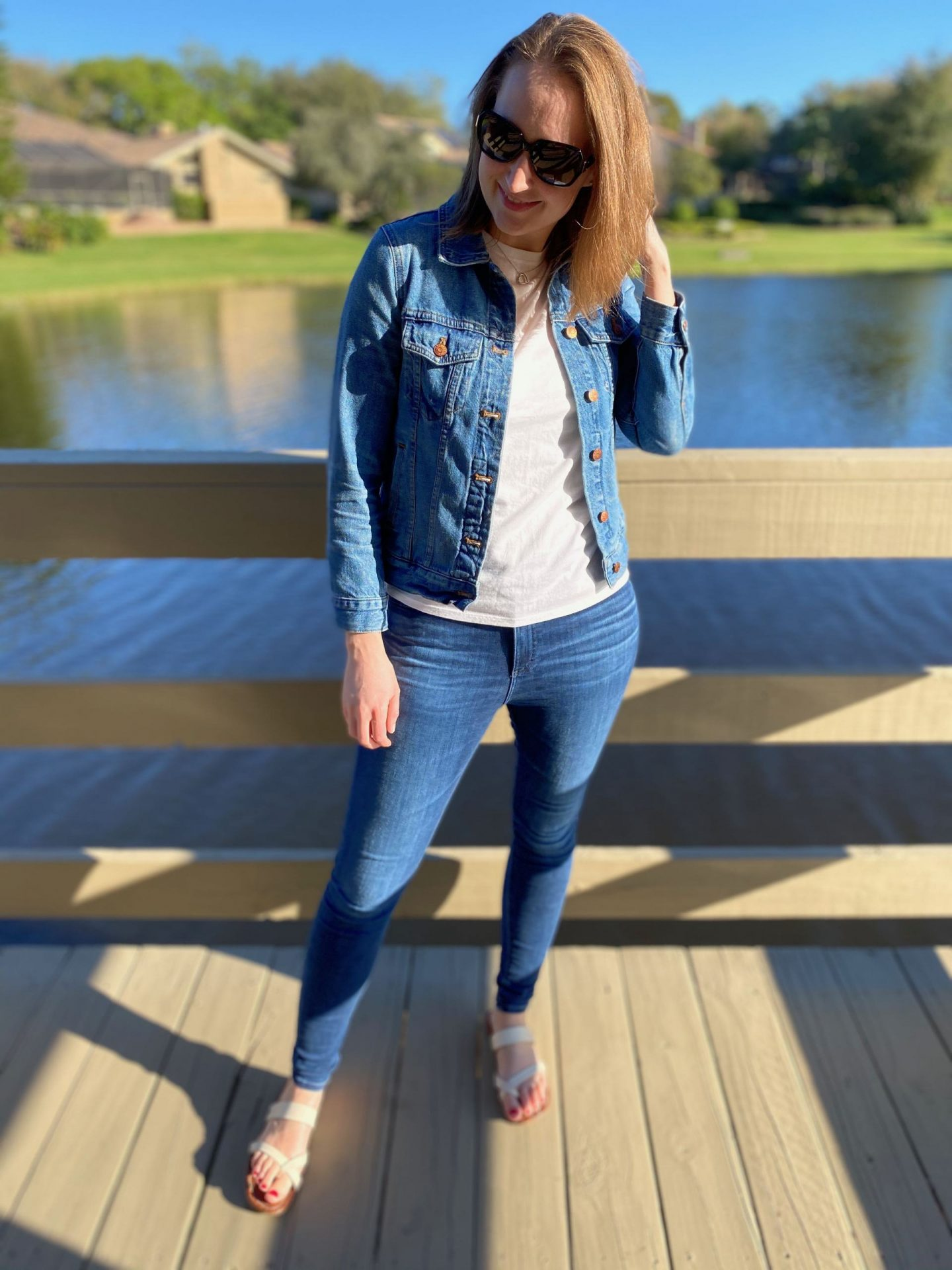 Casual White Tee with Jean Jacket   3 Spring Jean Jacket Outfits   The Spectacular Adventurer