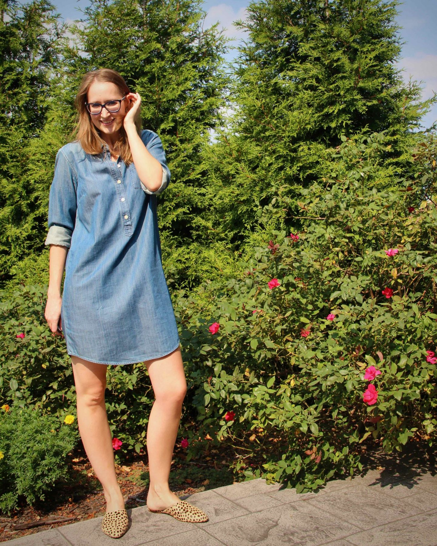 Chambray Dress Outfit Idea | Madewell Leopard Mules | The Spectacular Adventurer