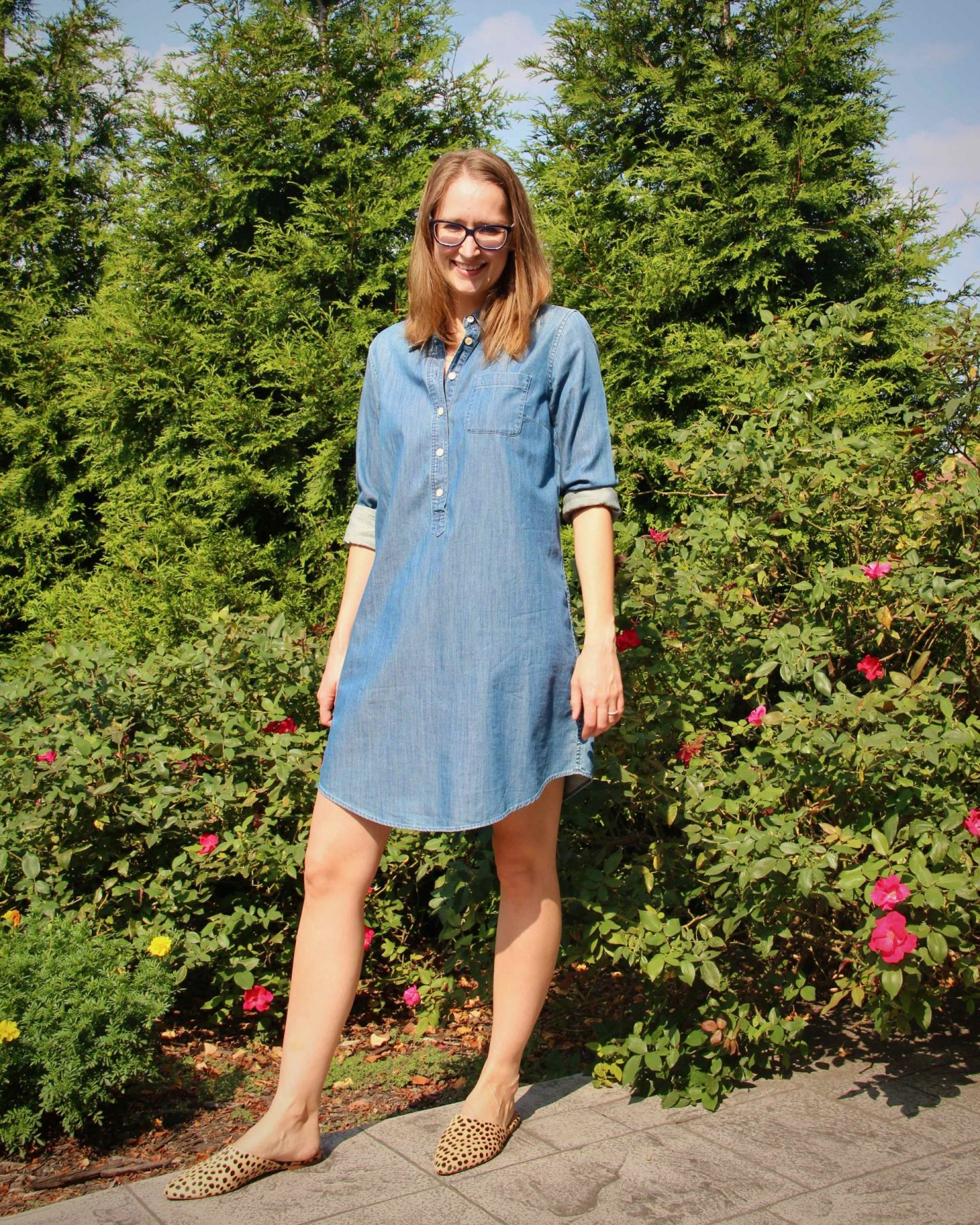 Casual Dress Outfit Idea | Madewell Leopard Mules | The Spectacular Adventurer